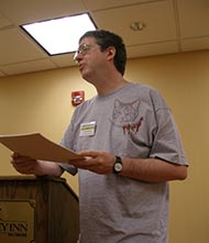 "Reading ""The Albright Sextuplets."" This was my first public reading as a horror author."